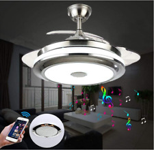"36""/42"" Bluetooth Invisible Ceiling Fan Light Music Player Led Chandelier+remote"