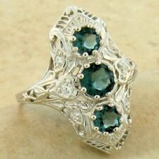 ART DECO 925 STERLING SILVER LONDON BLUE SIM TOPAZ RING SIZE 8,            #1126