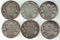 6 X CANADA 50 CENTS KING EDWARD VII CANADIAN STERLING SILVER COINS 1906 - 1910