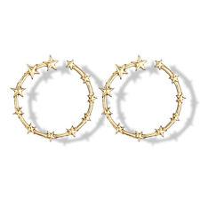 Fashion Gold Metal Star Big Round Circle Geometry Smooth Large Ring Hoop Earring