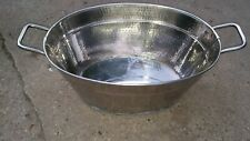 """7Vv16 Stainless Steel Basket / Bucket: Oval 20"""" X 13"""" Top, 9"""" Tall, 25"""" Overall"""