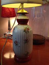 Ancien Grand Pied De Lampe En Porcelaine De Couleuvre Decor De Fleurs