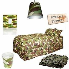 Kids Army Camo Themed Bedroom Set Includes Bedding & Camo Net