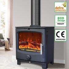 5KW Multifuel Steel Wood Burning Stove Defra Log Burner Woodburner Fireplace