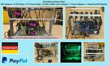 GPU Mining Alu RIG incl. 6 Riser 6 USB & 6 PCI Y-Power cable + PowAdapt.+Starter