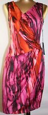Simply Vera Wang Size L Multi Color DRESS GATHERED DRAPE Polyester Blend NWT $68
