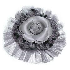 Broche pince bibi soiree cérémonie mariage fleur camélia tissu tulle laine GRISE