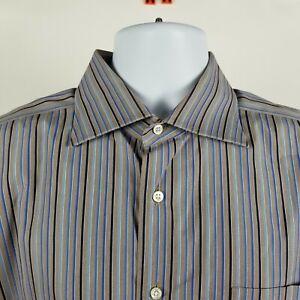 Lorenzini Italy Mens Brown Blue Striped L/S Dress Button Shirt Sz 17/43