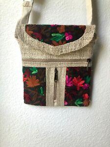 NWT Embroidered Hippie Eco Frendly THC Free PURE Hemp Side BAG Adjust Nepal SB12