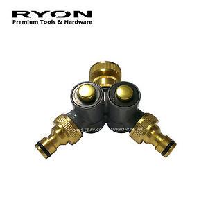 Push-Button Metal 2-Way Garden Tap Adapter Outdoor Faucet Lawn Brass Twin Tap