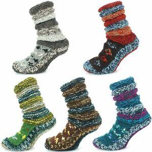 Wool Socks Chunky Knitted Fleece Lined ABSTRACT Slipper Winter Warm LoudElephant