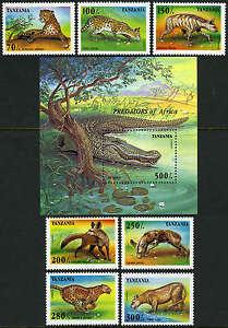 Tanzania 1422-1429, MNH. Predators:Lion,Leopard,Hyena,Cheetah,Alligator, 1995