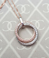 """Real Fine 9ct Rose & White Gold Sparkling Open Circle Love Necklace 16"""" 18"""" 20"""""""