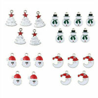10PCS Xmas Enamel Alloy Charms Pendants For Necklace Jewelry Making DIY Findings