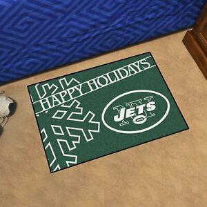 "New York Jets Happy Holidays Starter Mat 19""x30"" NFL FANMATS"