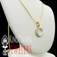 "REAL GENUINE DIAMOND INITIAL LETTER ""C"" MINI PENDANT+ CHAIN YELLOW GOLD FINISH"