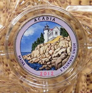 COLORIZED 2012-D UNCIRCULATED / ACADIA / AMERICA THE BEAUTIFUL QUARTER....#13761