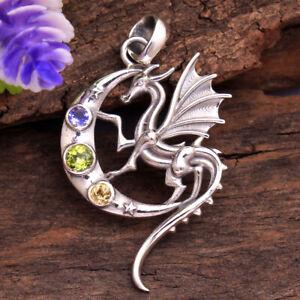 PERIDOT Gemstone HANDMADE 925 Solid Sterling Silver Fine Jewelry Dragon Pendant