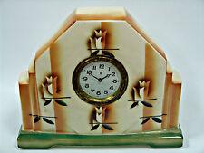 Tischuhr Kaminuhr Art Deco Minerva Uhrwerk  Porzellan Keramik
