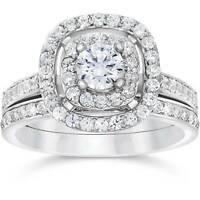 1 1/2ct Double Cushion Halo Real Diamond Engagement Wedding Ring Set White Gold