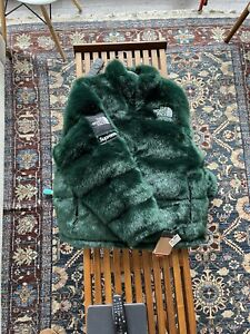 Supreme x The North Face Faux Fur Nuptse Jacket GREEN