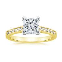 0.72 Ct Princess Cut Diamond Engagement Wedding Ring 14K Real Yellow Gold Rings