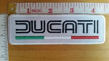 Ducati White Logo Embroidered Iron On Patch badge applique sport motorcycle