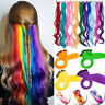 100% Real Natural as human Hair Multi Color Clip In Hair Extensions Rainbow 10pc