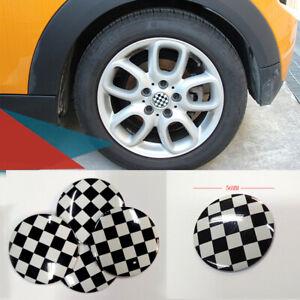 56mm Checkered UK 3D Metal Car Truck Wheel Center Hub Cap Sticker Emblem Decal