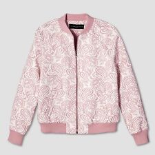 Victoria Beckham For Target Women's Blush Floral Jacquard Bomber Jacket Pink M