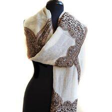 AHUJASONS Snow Leopard Beige Wool Scarf