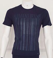 Nuevo diseñador de Armani Jeans Cuello Redondo Camiseta, 100% Algodón, Azul Marino, Delgado, L * Bnwt *