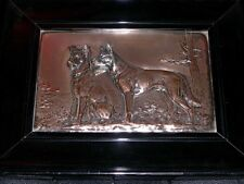 LARGE ANTIQUE GERMAN SHEPHERD DOG SILVER PLATED PLAQUE BY F DILLER 1915