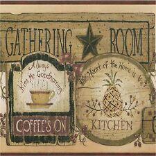 COFFEE'S ON GATHERING ROOM KITCHEN SET OF 4 COASTERS RUBBER WITH FABRIC TOP