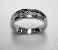 MEN'S 14K WHITE GOLD 8 DIAMOND CHANNEL SET WEDDING BAND RING - SIZE 8.5