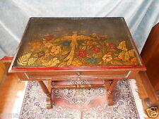 Tavolino Inglese antico decoro dipinto su tela fenice uccello del paradiso