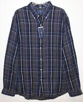 Polo Ralph Lauren Mens 2XL XXL Gray Plaid Flannel Button-Front Shirt NWT 2XL XXL