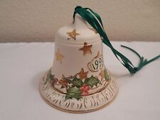 Beautiful 1999 Ceramic Christmas Bell Hand Painted By Arlene Webb ~ Signed ~ 3""