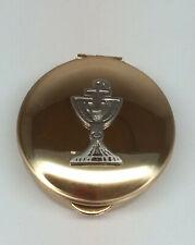 "Brass Pyx w/Chalice .5""x1.5"" CA Gift PS121, & Leather Burse 32"" Cord CB Catholic"