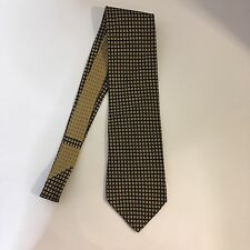 Nautica Men's Silk Designer Necktie Navy Blue with Gold Geometric Pattern