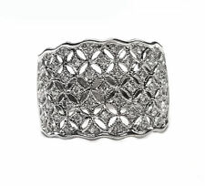 """Filigree Style Wide Band in 18kt. White Gold 50pts. Diamonds t.w. 1/2"""" Wide"""