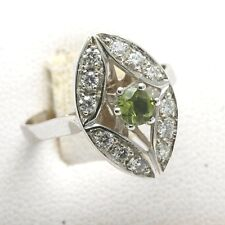 New 14k white gold Diamond & green PERIDOT Ring Vintage Reproduction Oval pave
