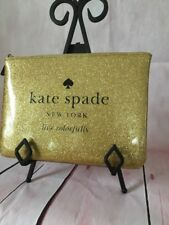 KATE SPADE NWT GIA HOLIDAY DR SPARKLE GOLD COSMETIC BAG POUCH GLITTER SPARKLE