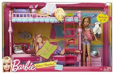Barbie Sisters Sleeptime Bunk Beds Bedroom Furniture +Stacie Doll Play Set Rare