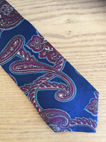 "Stafford Men's Necktie Silk Paisley Navy Burgundy  XD  4"""