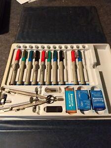 Vintage rare Staedtler Mars Lumograph Technical Drawing 10 Pen Set Cased.