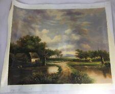 Farm House by the Creek Canvas Art Oil Painting Litho Print Wall Decor E. Algzed