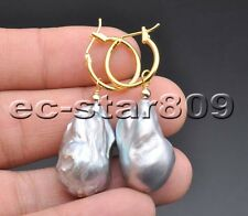 P5993 30mm Gray Baroque KESHI REBORN Pearl Dangle Earring
