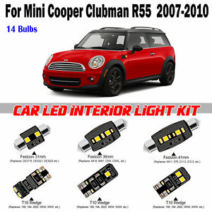 14pcs White LED Full Interior Light Kit For MINI Cooper Clubman R55 2007-2010