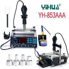 YIHUA 853AAA BGA Rework Soldering Station Preheating Hot Air Gun Solder Iron Set